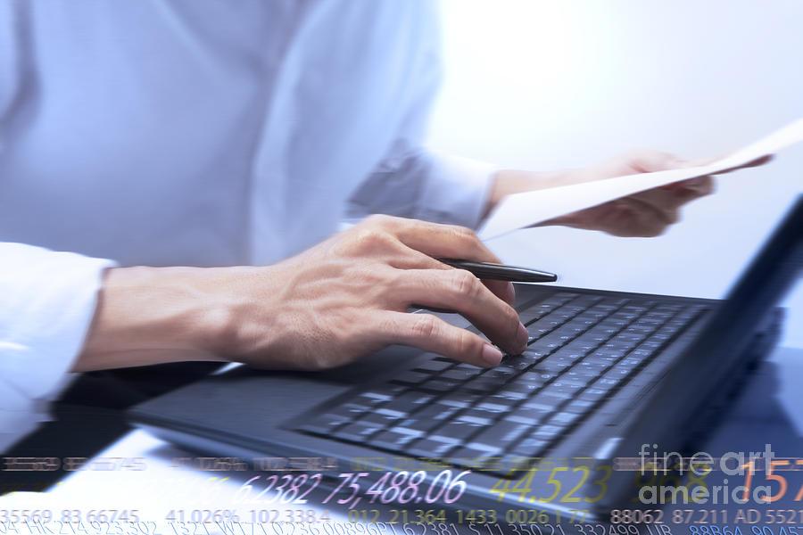 Accounting Photograph - Typing by Atiketta Sangasaeng