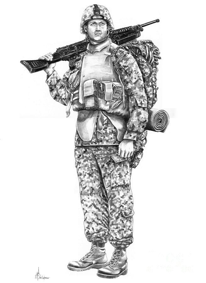 Soldier Drawing - U S Marine by Murphy Elliott