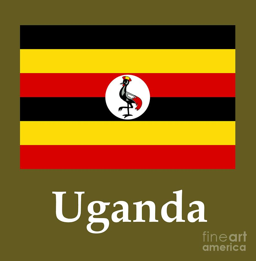 Uganda Flag And Name Digital Art by Frederick Holiday