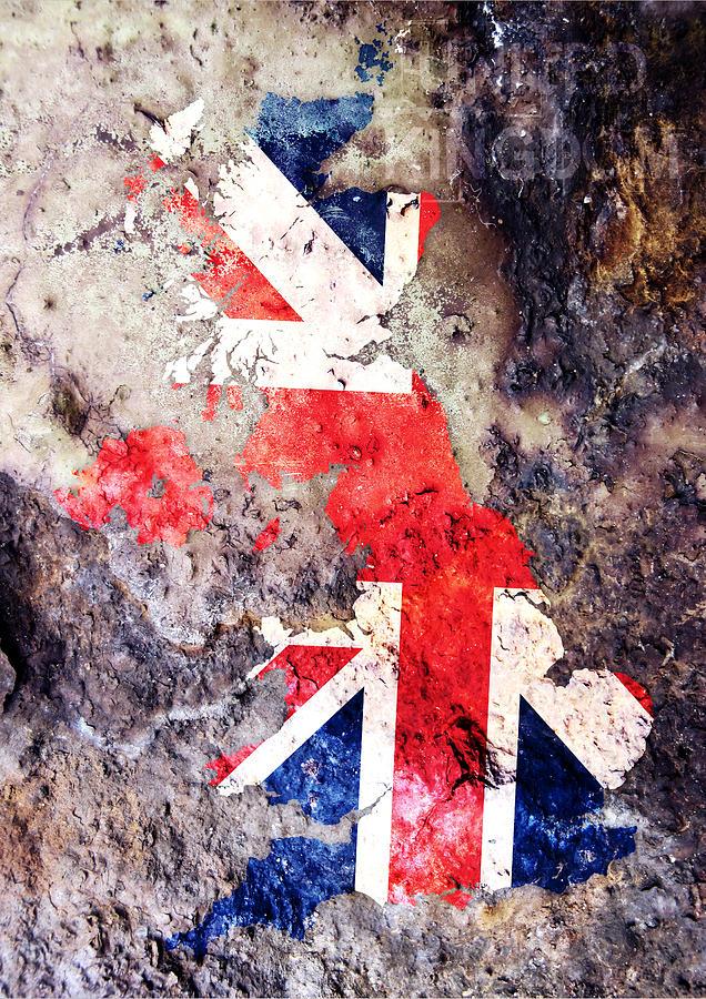 Uk Digital Art - Uk Flag Map by Michael Tompsett