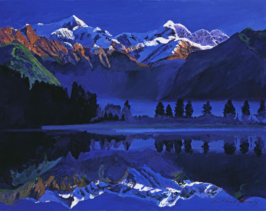 Mountains Painting - Ultimate Blue by David Lloyd Glover