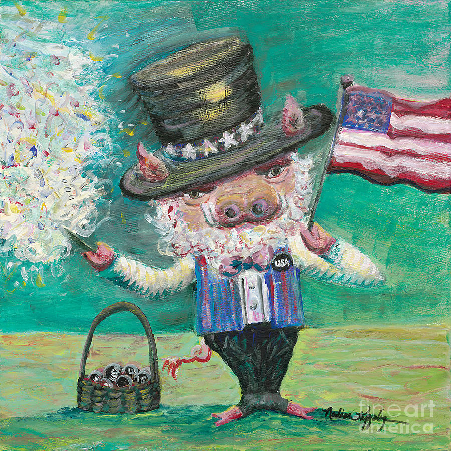 Fourth Of July Painting - Uncle Spam by Nadine Rippelmeyer