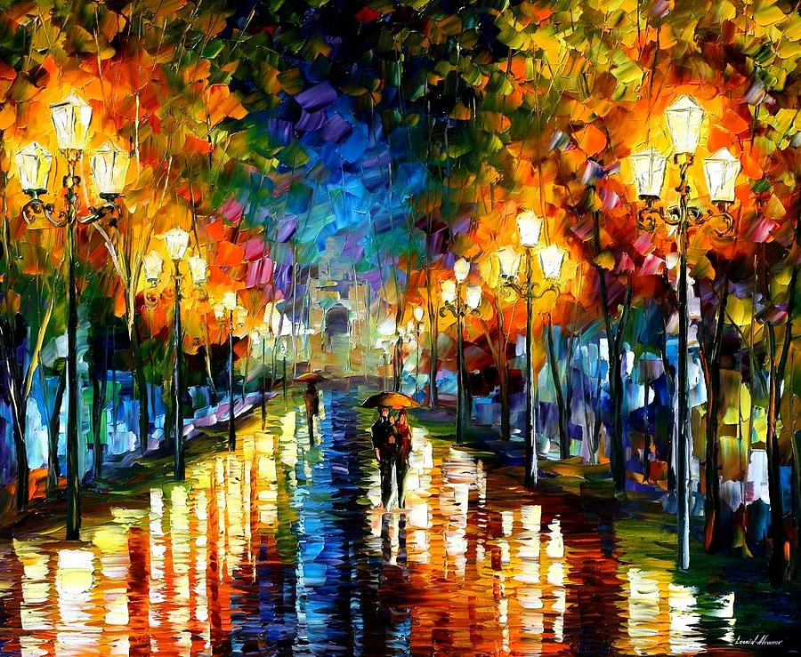 Under Brown Umbrella Painting by Leonid Afremov