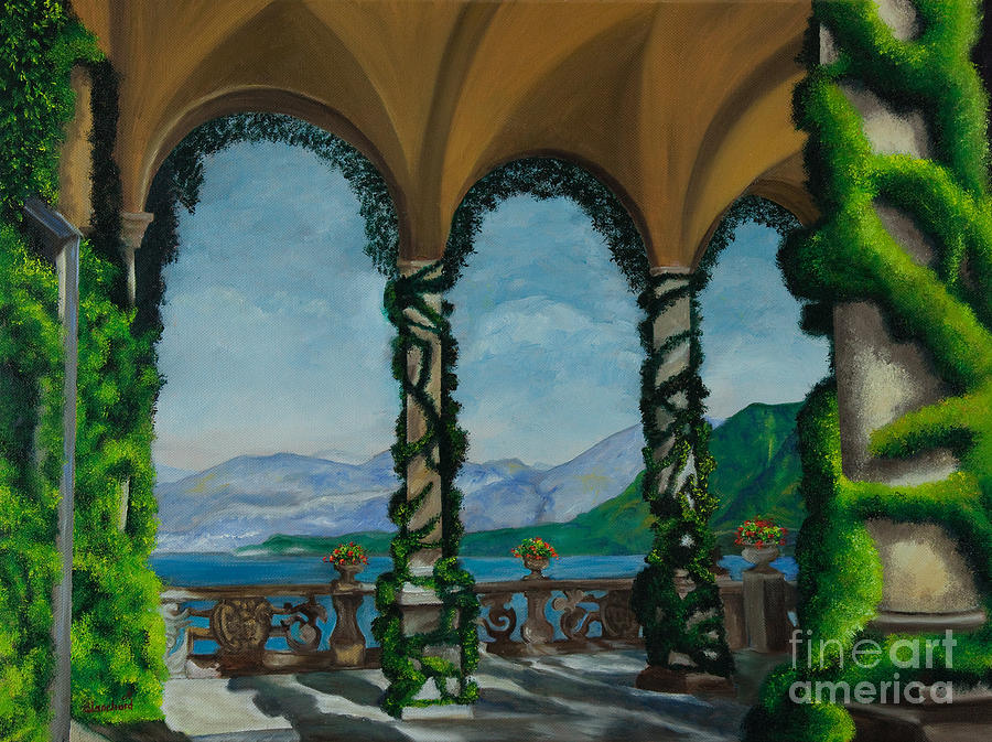 Bellagio Italy Art Painting - Under The Arches At Villa Balvianella by Charlotte Blanchard