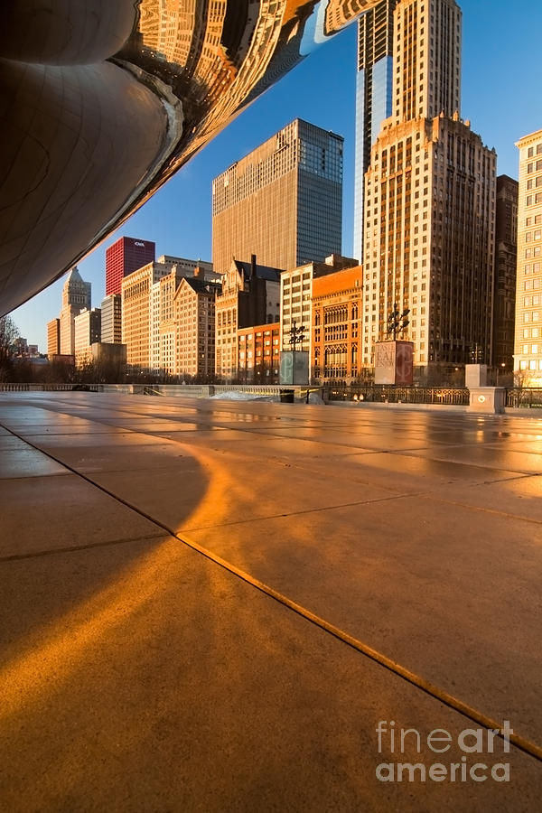 Under The Bean And Chicago Skyline At Sunrise Photograph
