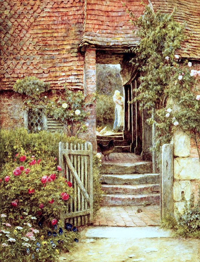 Cottage; Mother And Child; Gate;rural Scene; Country; Countryside; Home; Path; Garden; Wildflowers; Chicken; Roses; Picturesque; Idyllic; House; Female Painting - Under The Old Malthouse Hambledon Surrey by Helen Allingham