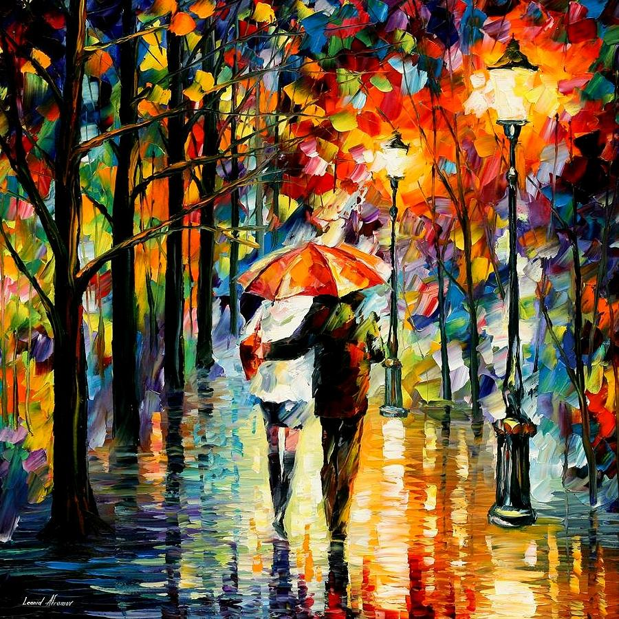 Under the red umbrella painting by leonid afremov for Painting red umbrella