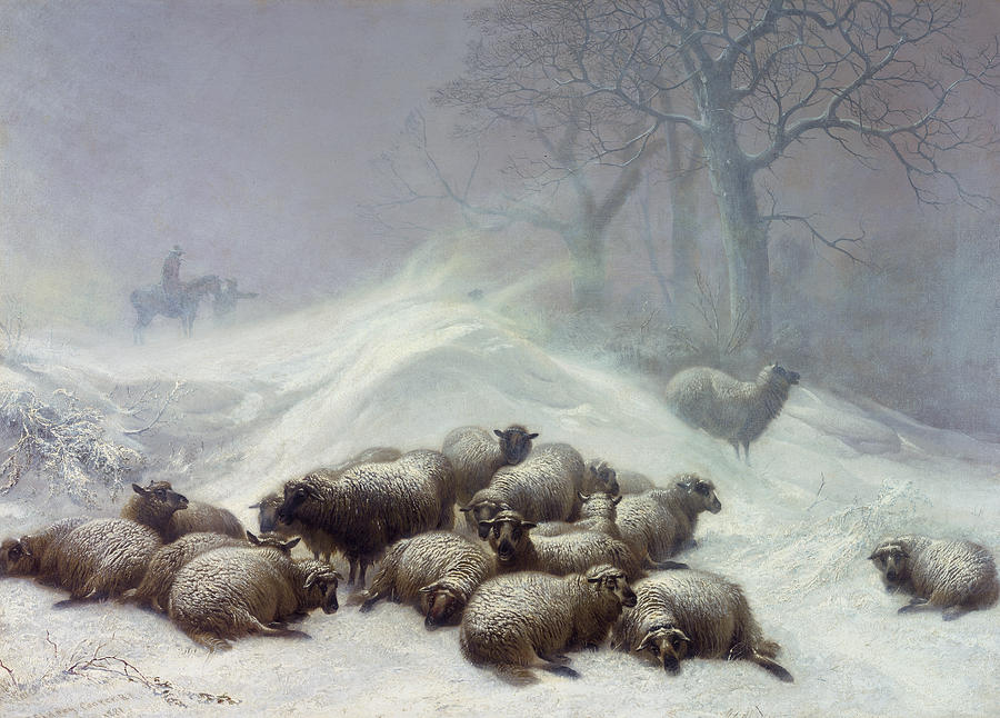Wintry Painting - Under The Shelter Of The Shapeless Drift by Thomas Sidney Cooper