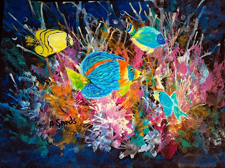 Underwater sea life painting by anne sands for Sea life paintings artists