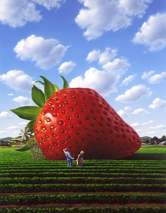 Strawberry Painting - Unexpected Growth by Jerry LoFaro