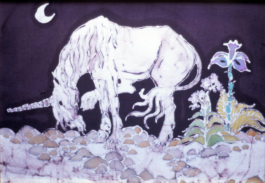 Unicorn Tapestry - Textile - Unicorn Pauses by Carol  Law Conklin