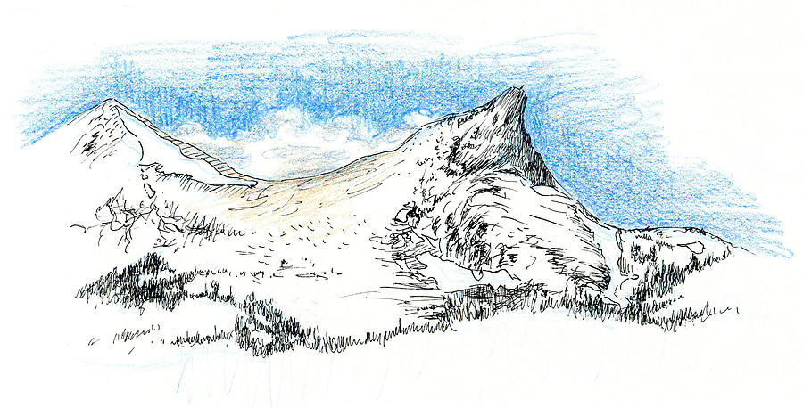 Unicorn Drawing - Unicorn Peak In September by Logan Parsons