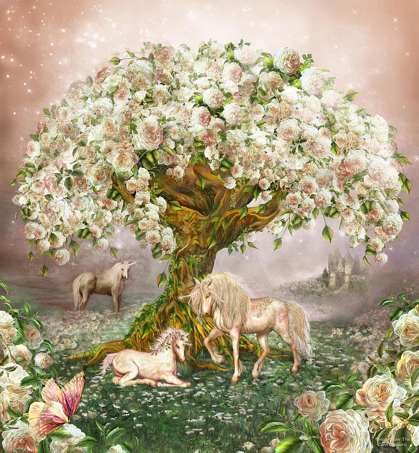 Unicorn Rose Tree Mixed Media By Carol Cavalaris