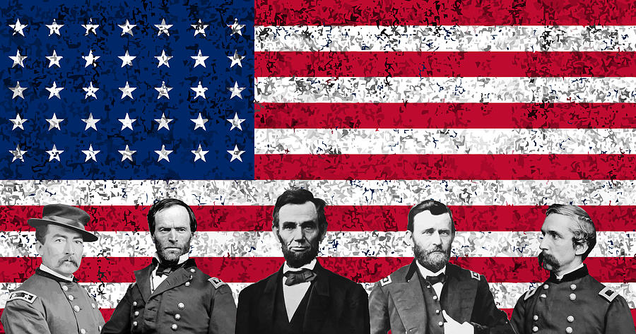 Abraham Lincoln Digital Art - Union Heroes And The American Flag by War Is Hell Store
