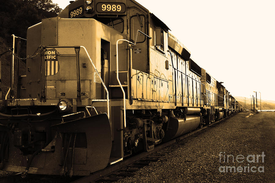 Black And White Photograph - Union Pacific Locomotive Trains . 7d10588 . Sepia by Wingsdomain Art and Photography