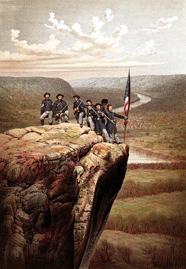 Civil War Painting - Union Soldiers On Lookout Mountain by War Is Hell Store