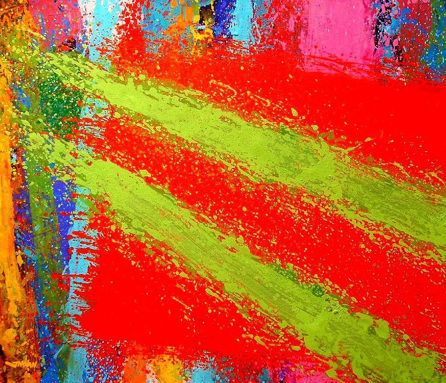 Abstract Irish Contemporary Modern Vibrant Music Jazz Artist Gallery Studio Red Green Colourful Acrylic Canvas Stylised Original Print Card Professional Art Auction Bid  Painting - Unison by John  Nolan