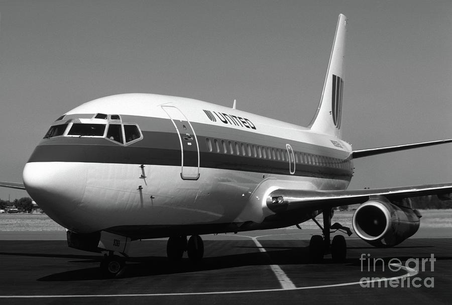 United 737 In Black And White Photograph