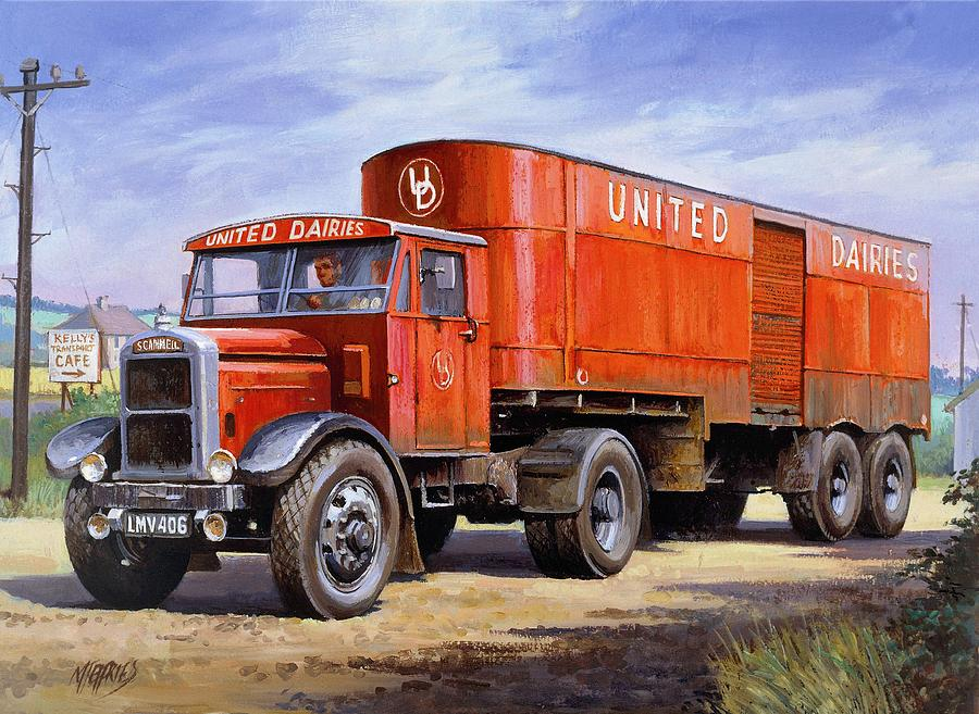 Scammell Painting - United Dairies Scammell. by Mike  Jeffries