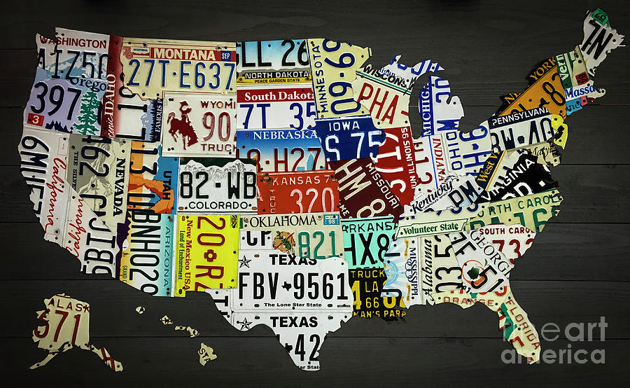 License Plate Map Of United States Photograph
