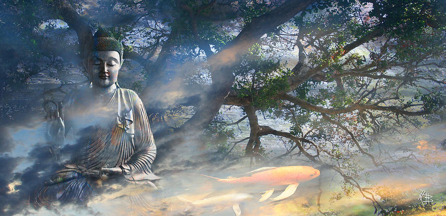 Buddha Mixed Media - Universal Flow by Christopher Beikmann