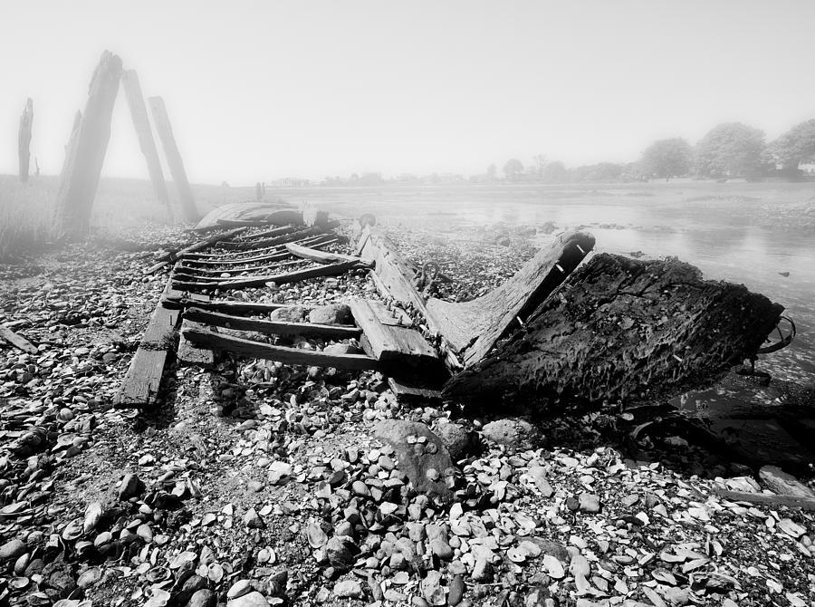 Foggy Day Photograph - Unknown Shipwreck  by Dapixara Art