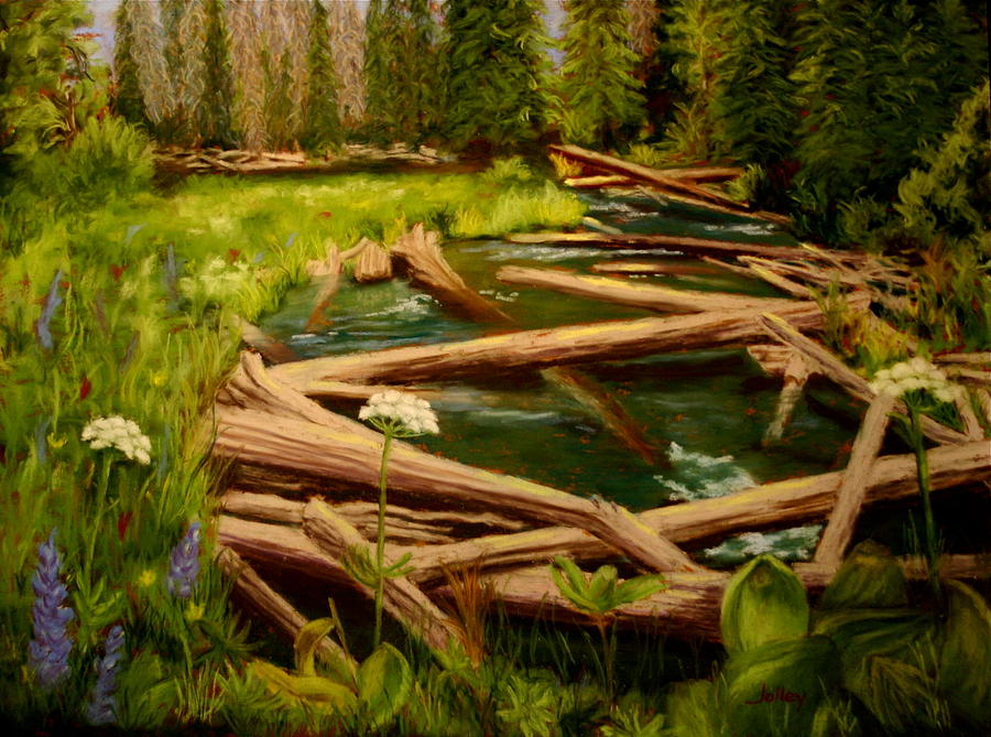 River Painting - Upper Deschutes by Nancy Jolley
