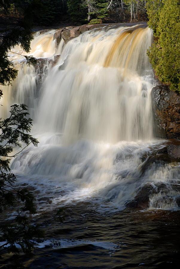 Goseberry Falls State Park Photograph - Upper Falls Gooseberry River 2 by Larry Ricker