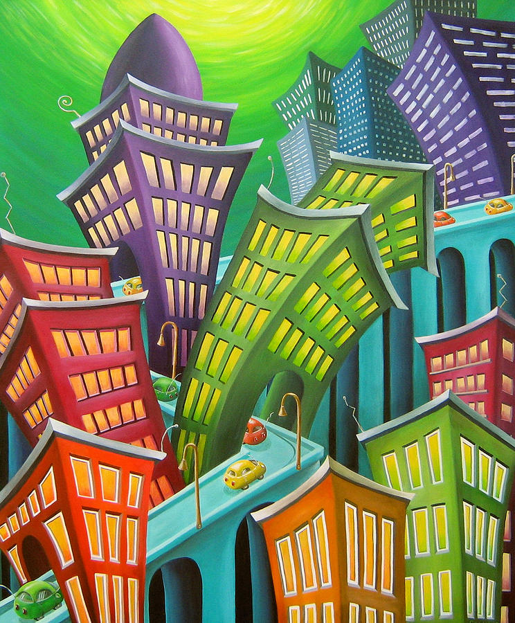 Urban Painting - Urban Vertigo by Eva Folks