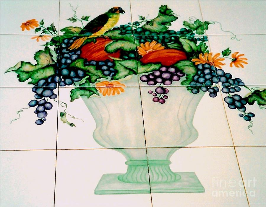 Urn Of Fruit With Bird Ceramic Art