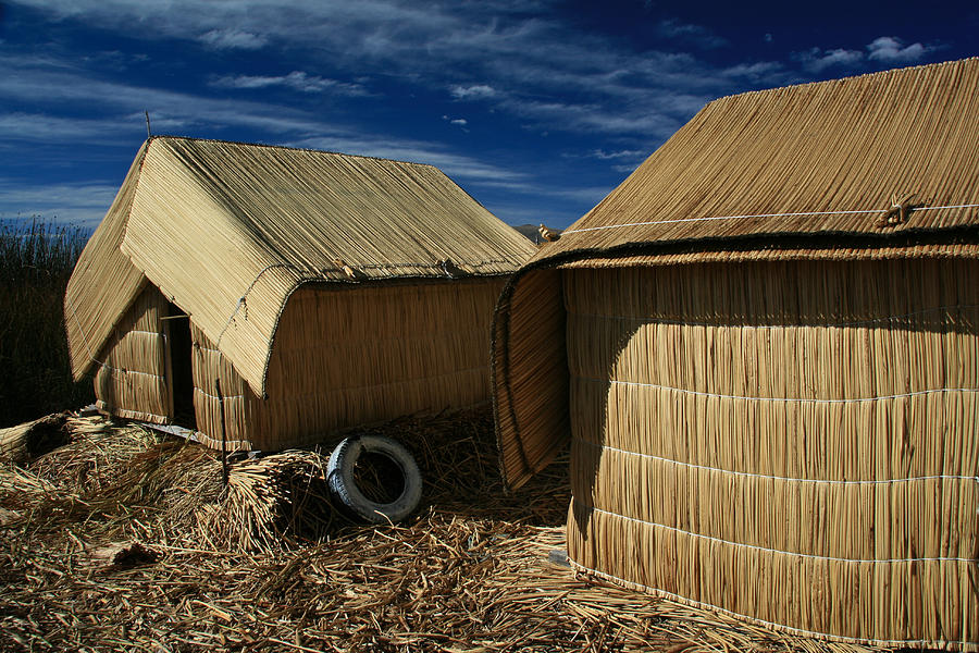 Uros Island Photograph - Uros Islands Huts by Jonathan Hansen