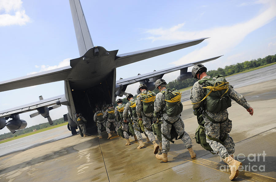 Military Photograph - U.s. Army Rangers Board A U.s. Air by Stocktrek Images