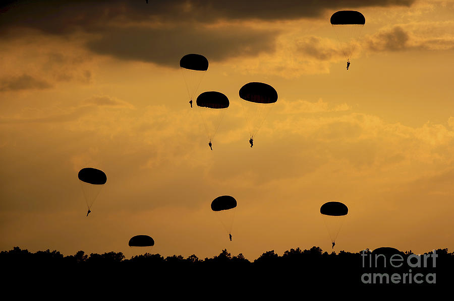 Army Photograph - U.s. Army Soldiers Parachute by Stocktrek Images