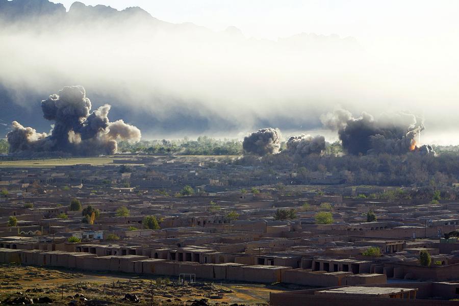 U.s. Bombs Burst During Fighting Photograph