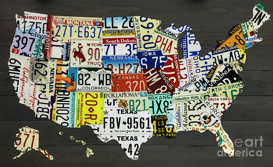 License Plate Map Of The United States On Gray Wood Boards Photograph