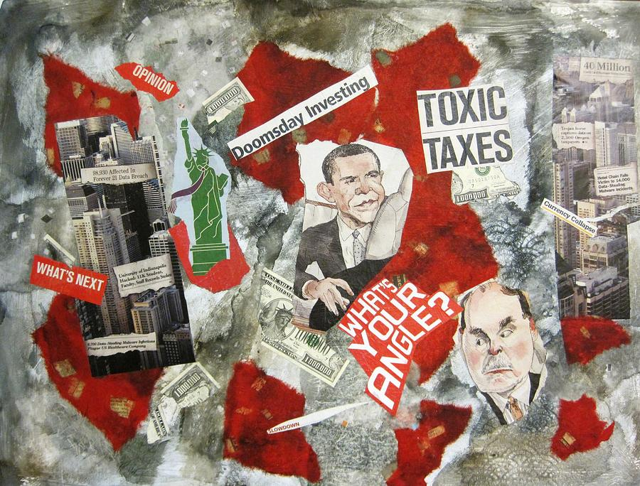 Usa Painting - Usa Financial Meltdown by David Raderstorf