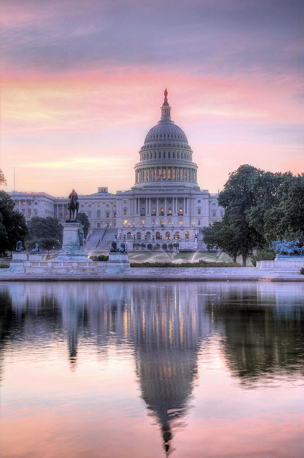 Capital Capitol Congress Senate House Dome Washington Dc Pink Blue Purple Sunrise Us United States Patriotic Fourth Of July 4th Historic Dawn Building Usa Photograph - Usa Today by JC Findley