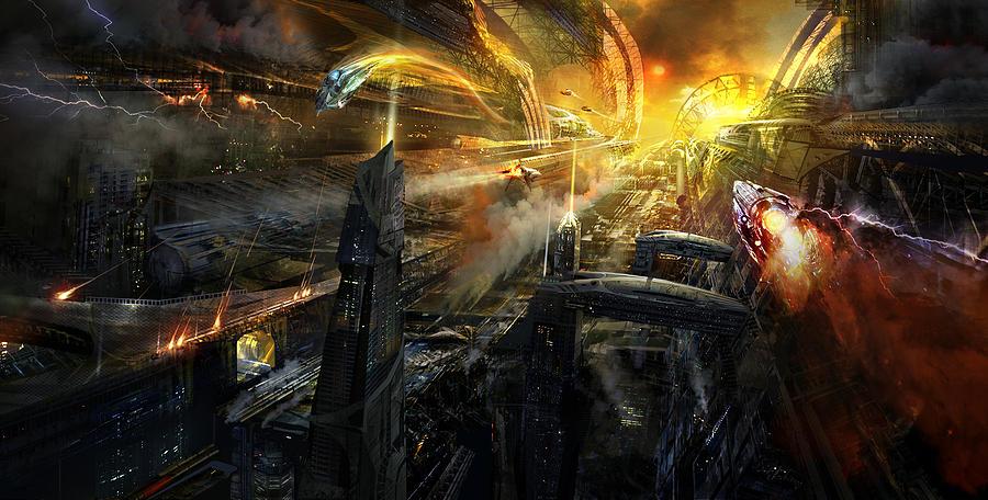Philip Straub Mixed Media - Utherworlds Battlestar by Philip Straub