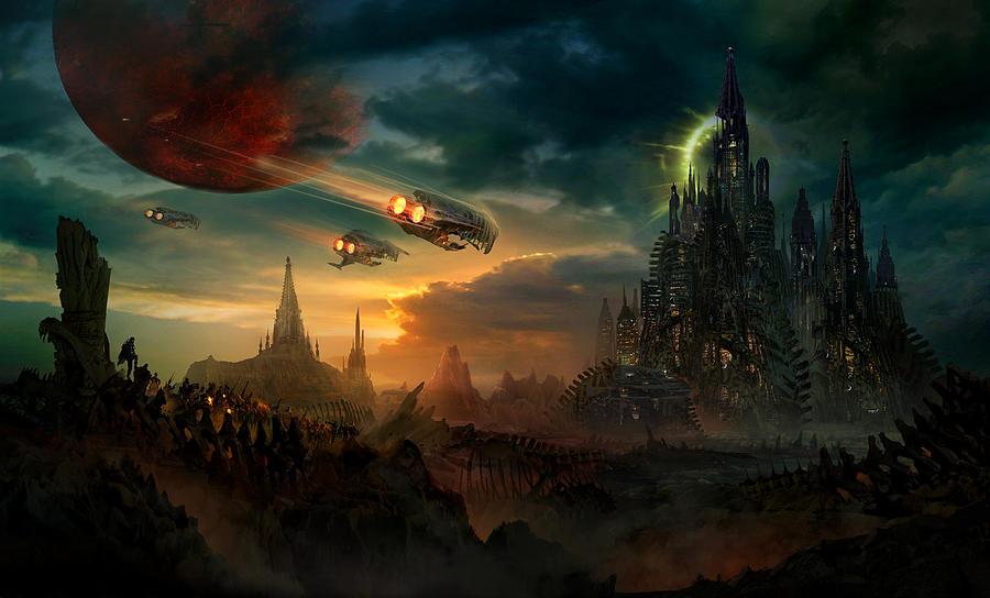 Fantasy Painting - Utherworlds Sosheskaz Falls by Philip Straub