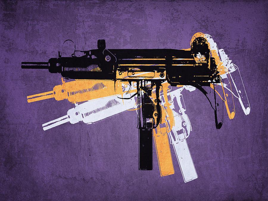 Uzi Digital Art - Uzi Sub Machine Gun On Purple by Michael Tompsett