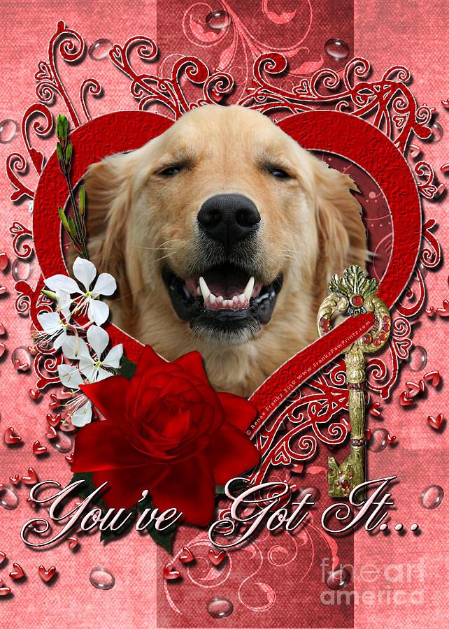 Golden Retriever Digital Art - Valentines - Key To My Heart Golden Retriever by Renae Laughner