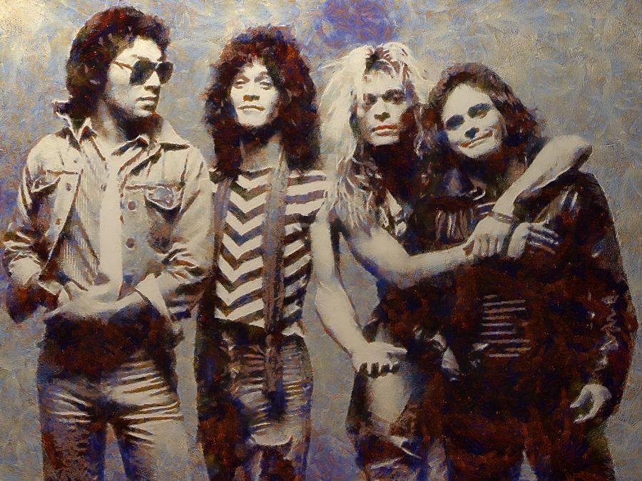 Van Halen Painting - Van Halens Classic Early Lineup by Aaron Stokes
