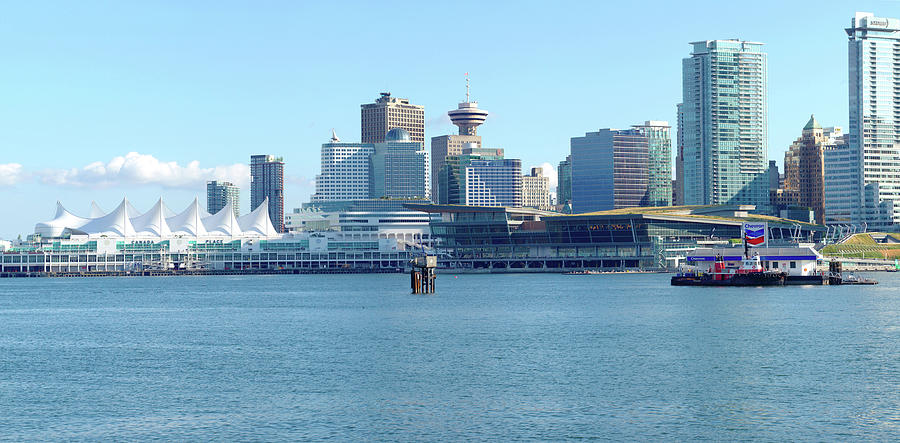 Vancouver Photograph - Vancouver Bc Waterfront Skyline Panorama. by Gino Rigucci