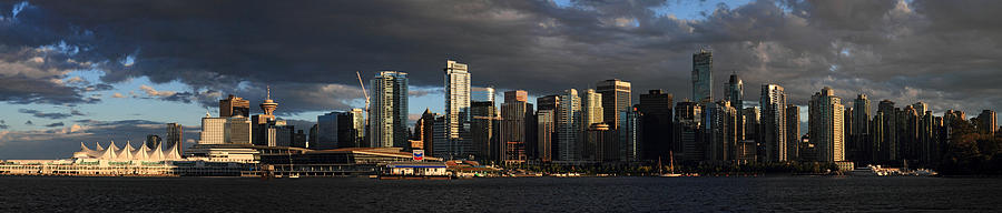 Vancouver City Sunset Panorama From Stanley Park Photograph