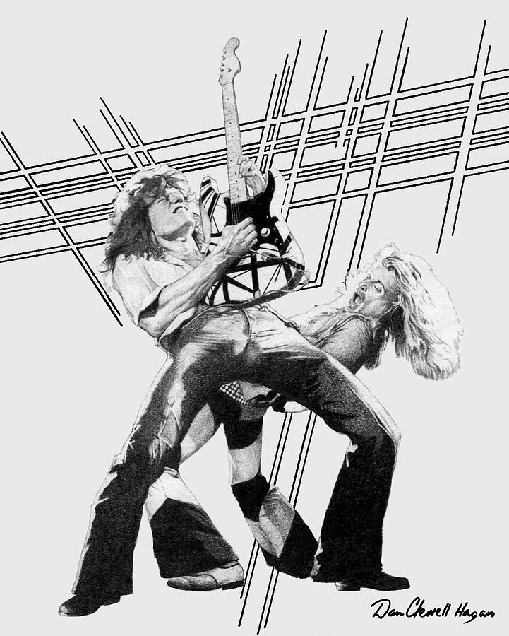 Music Drawing - Vanhalen by Dan Clewell