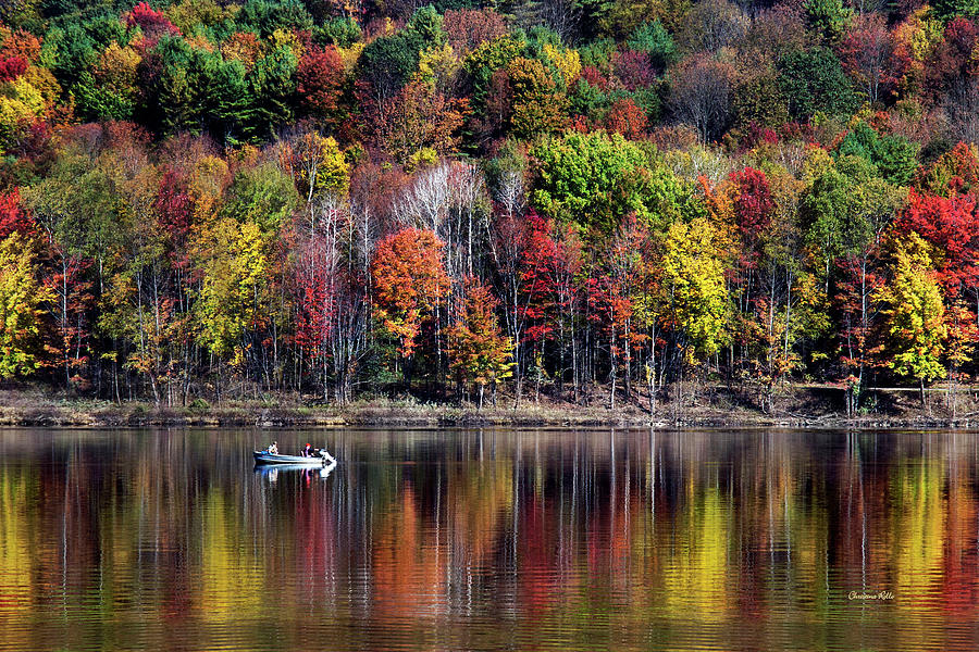 Fall Landscape Photograph - Vanishing Autumn Reflection Landscape by Christina Rollo