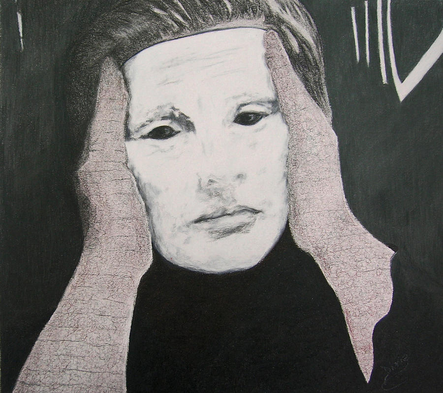 Mask Drawing - Vanity Be Thy Name by Dixie Hester