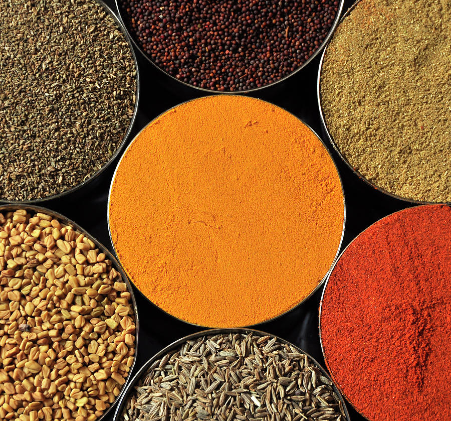 Horizontal Photograph - Various Kind Of Spices by PKG Photography
