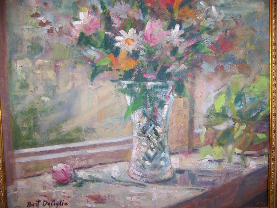 Vase And Flowers In Window Sill. Painting