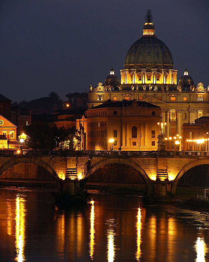 Vatican Photograph - Vatican At Night by Don Wolf